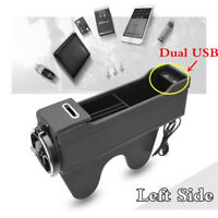 Dual USB Car Organizer Seat Crevice Storage Bag Phone Holder Pouch Gap Left Side