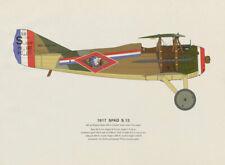 Spad S.13 (1917) vintage aeroplane print by Roy Cross. France 1962 old