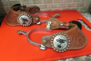 Tooled Leather and silver plated  Show Spurs Horse men / ladies  ornate