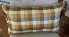 Pair NEW CHECK SILK Oblong Brown Tan & Cream Cushion covers with Silky FRINGES