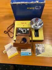 Antique 35mm Argus C3 Camera With Case And Flash In Box