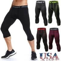USA Men's Compression Capri Sports Tights Running Basketball Tight 3/4 Pants U13