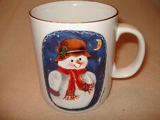 "Retro 1997  SnowmanElaine Thompson Ceramic Coffee Mug # 5254  gold edge 4""x 3"""