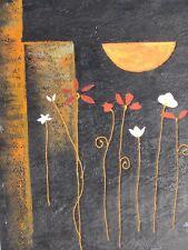 Fiore Bianco Nero Astratto Grande dipinto a olio su tela fiori floreale arte moderna