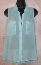 BLUENOTES AQUA SLEEVELESS  BUTTON BLOUSE LARGE TOP PRO CLEANED