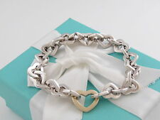 Tiffany & Co Heart Link Bracelet in Silver and 18K Gold 7.5 Inches Box Pouch