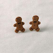 gingerbread man earrings retro emo cute sweet xmas easter gift yummy