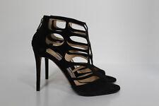 sz 6.5 / 36.5 Jimmy Choo Ren Black Suede Ankle Open toe Caged Sandals Shoes