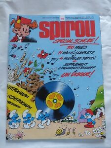 SPIROU n° 1973 COVER PEYO + SUPPLEMENT LINGUASCHTROUMPF + DISQUE RARISSIME