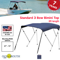 """Oceansouth BIMINI TOP 3 Bow Boat Cover Blue 67""""-72"""" Wide 6ft Long W/ Rear Poles"""