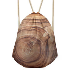Brown Drawstring Schoolbag Gym Bag Running Sport Sack PE Pouch Swimming Gymsack