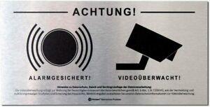 DSGVO+BDSG Datenschutz-Schild Hinweis VIDEOÜBERWACHUNG ALARM-gesichert ALU 10x20