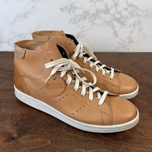 Adidas Mens Stan Smith Mid PC Horween Brown Leather Sneakers Size 12 F37615