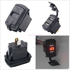 Dual USB Charger Socket Red LED Rocker Switch Style Car Marine Boat Voltmeter