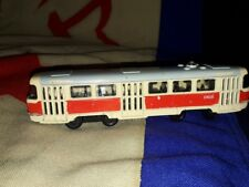 USSR City Tram Metal Model Yellow & Red Tramcar, Streetcar Scale 1/87