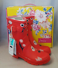 Joules Molly Welly Red Botanical Floral Wellingtons Wellies Festival Box Size 3