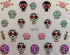 Nail Art 3D Decal Stickers Halloween Skull Bones Fish TJ117