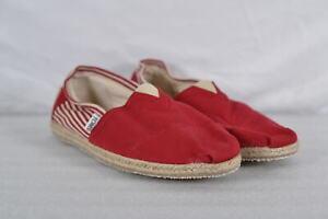 Men's TOMS Alpargata Striped Slip On Shoes, Red / White,  10