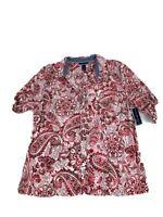 Karen Scott Women's Top Red Floral Button Up - Size XL Shirt Blouse