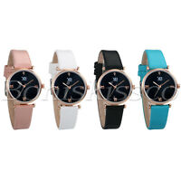 Women's Casual Starry Night Roman Numerals Dial Leather Band Quartz Wrist Watch