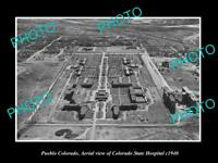 OLD LARGE HISTORIC PHOTO OF PUEBLO COLORADO AERIAL VIEW OF STATE HOSPITAL c1940
