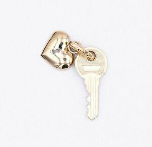 10k Yellow Gold Fine Jewelry KEY HEART LOCK Pendant