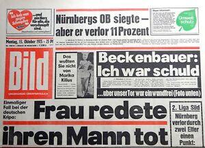 Kult-Zeitschrift BILD ZEITUNG 13.10.1975, Frau redete ihren Mann tot; Meuterei
