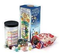 School Childrens Marble Reward Jar 50 Glass Marbles Indoor Game Educational