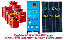 Off Grid Solar System 3 KVA 22.40 KWh 48V Battery 2.4 KW Panels FREE EU Delivery