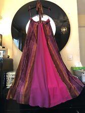 Monsoon Halter Neck Maxi Dress Size 16/18 Floaty Chiffon Striped Immaculate
