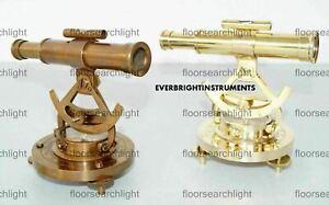 "Set of 2 PCs 5"" Antique & Golden Finish Alidade Elegant Look Survey Tool Compass"