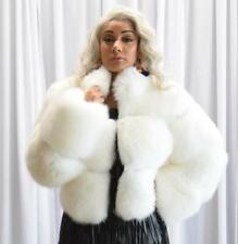 Jakewood Women Winter Genuine Fox Fur Crop Jacket White Size XL