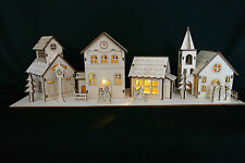 Wooden Christmas Nativity Village With Lights