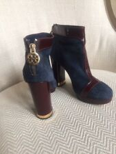 61e47b82de0f Tory Burch Booties BEAUTIFUL SUEDE AND PATENT LEATHER Gold Hardware- Size  5.5