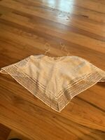 Zara W&B Collection Lace Cropped Top Blouse White Ivory Womens Size Small