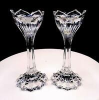 "BRILLIANT CUT CRYSTAL TULIP FORM AND VERTICAL CUT 2 PIECE 7"" CANDLESTICKS"