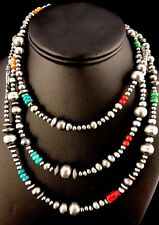 """Native American Navajo Pearls Sterling Silver Bead Necklace 36"""" Long  S423"""