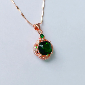 2Ct Green Emerald Round Cut Halo Pendant 14K in Rose Gold Free 18'' Chain Finish