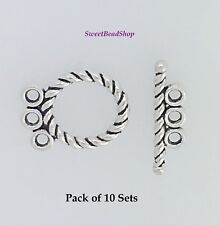 Pack of 10 Antique Silver Rope Design 3 Strand T Bar Toggle Clasps
