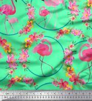 Soimoi Cotton Poplin Fabric Floral Wreath & Flamingo Bird Print-eP7