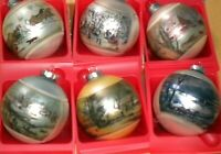 Vintage Corning Glass Works Currier & Ives Ornaments New Old Stock Sealed Box
