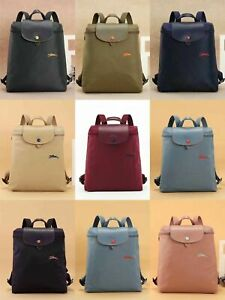 Women New Longchamp Le Pliage Club 1699 Backpack Schoolbag Bag Embroidered Horse