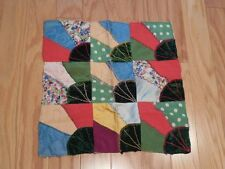 Vintage Velvet Silk CRAZY QUILT Fancy Stitching Lap Size 17x17 Just DELIGHTFUL