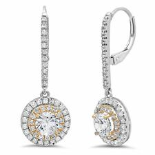 2.42ct Round Cut Halo Leverback Drop Dangle Designer Earrings 14k Two-Tone Gold