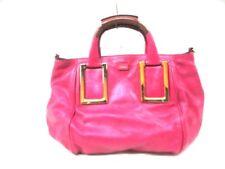 Auth Chloe Ethel Pink DarkBrown Leather Handbag