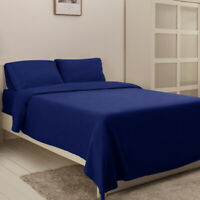 Comfort Luxury Hotel Bed Sheet Set Deep Fitted Wrinkle Fade Resistant -Navy Blue