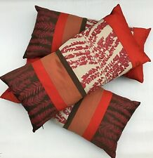 3 x CLARISSA HULSE Silk / Feather Oriental Long Cushions, Reds & Browns - Ex/Con