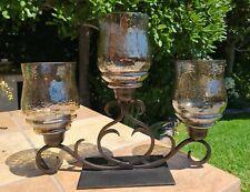 3 Votive Pillar Candleabra Glass Hurricane Shades Bronze Gold Brown Tones Pretty