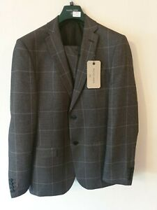 """Racing Green 2 piece Grey Check Suit - Jacket 38"""" - Trouser 34""""R - BNWT RRP £199"""