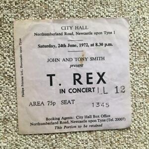 T Rex Marc Bolan ticket Newcastle City Hall 24/06/72 8.30 performance #LL12